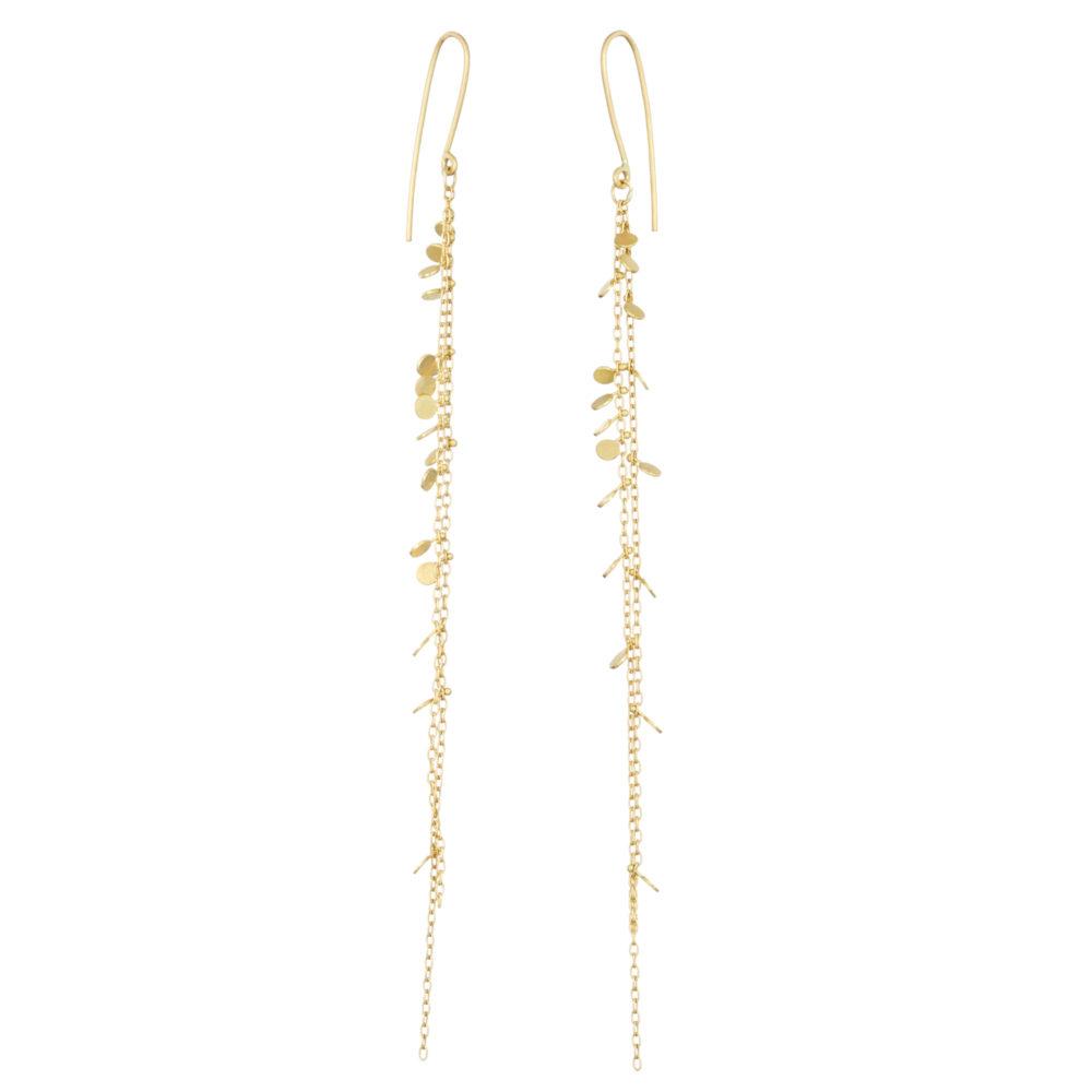 Sia Taylor DE203 Y Yellow Gold Double Chain Random Dot Earrings WB