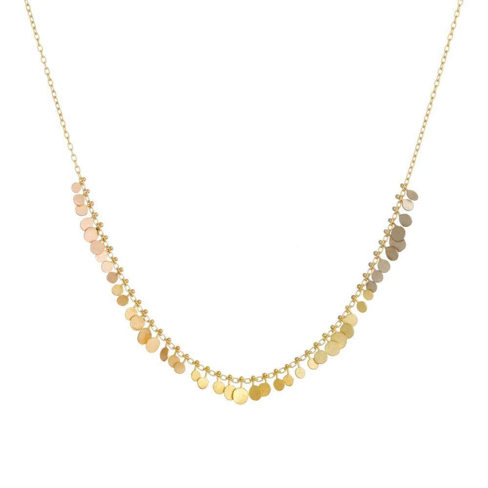 Sia Taylor DN357 YRAIN Rainbow Gold Graduating Dots Necklace WB
