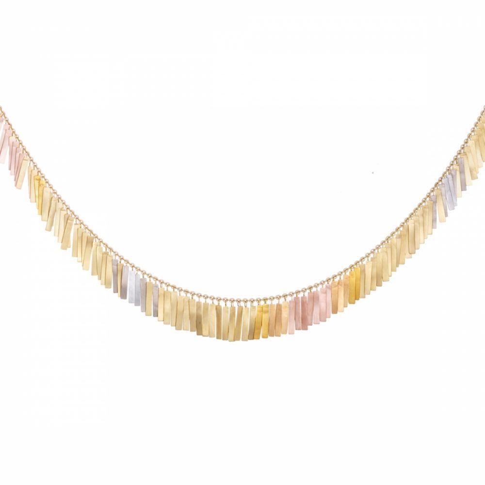 Sia Taylor KN28 RAIN Rainbow Gold Sunset Fringe Full Necklace WB