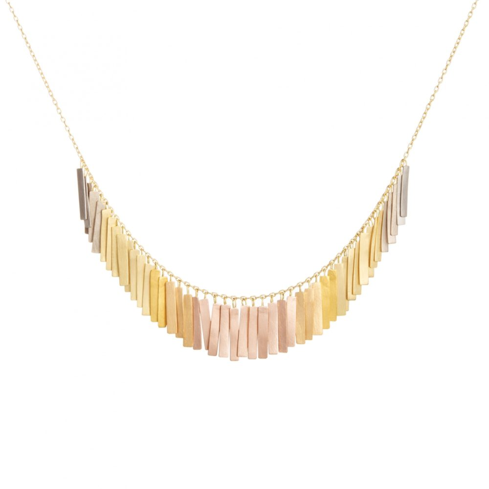 Sia Taylor KN29 RAIN Rainbow Gold Sunset Fringe Arc Necklace WB