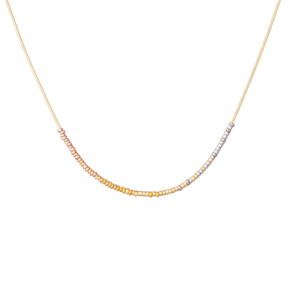 Sia Taylor KN7 Y N Tiny Bead Rainbow Golds Arc Necklace WB