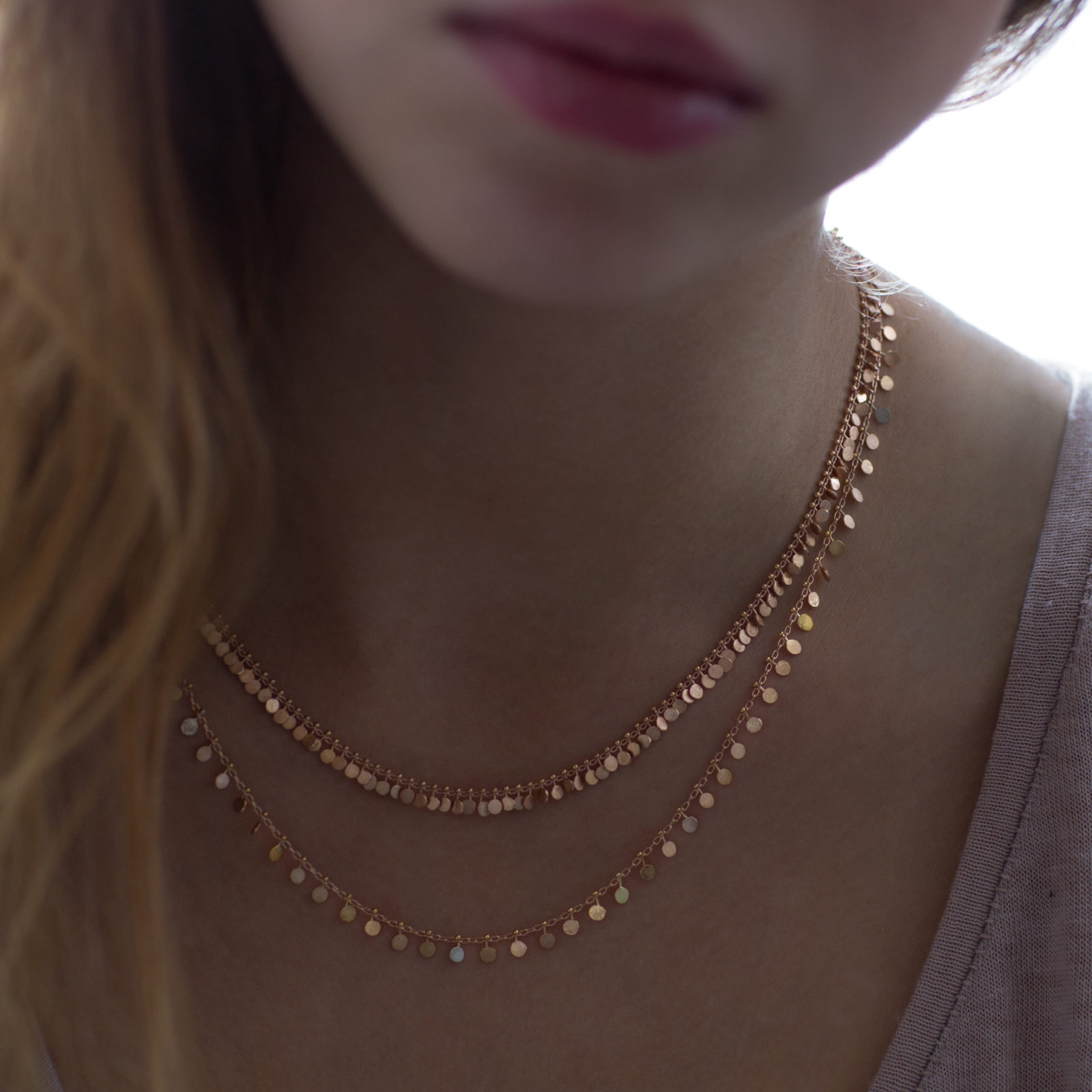 Sia Taylor DN300 R Full Yellow Gold Dot Necklace M
