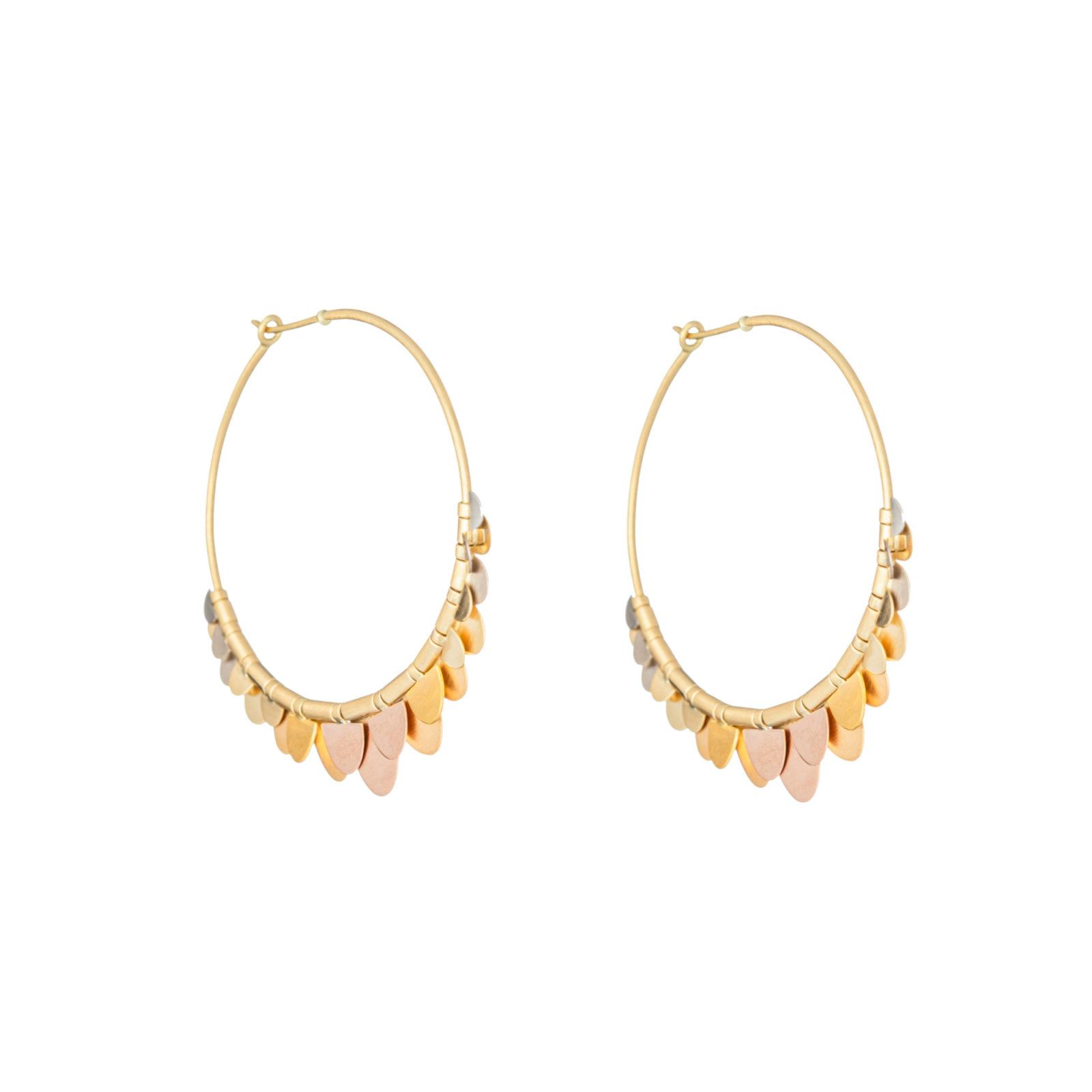 Sia Taylor FE8 RAIN Side Rainbow Gold Earrings WB