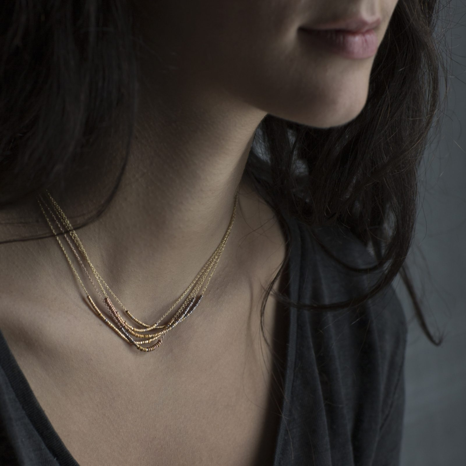 Sia Taylor KN11 Y Rainbow Gold Tiny Bead Rainbow Necklace M