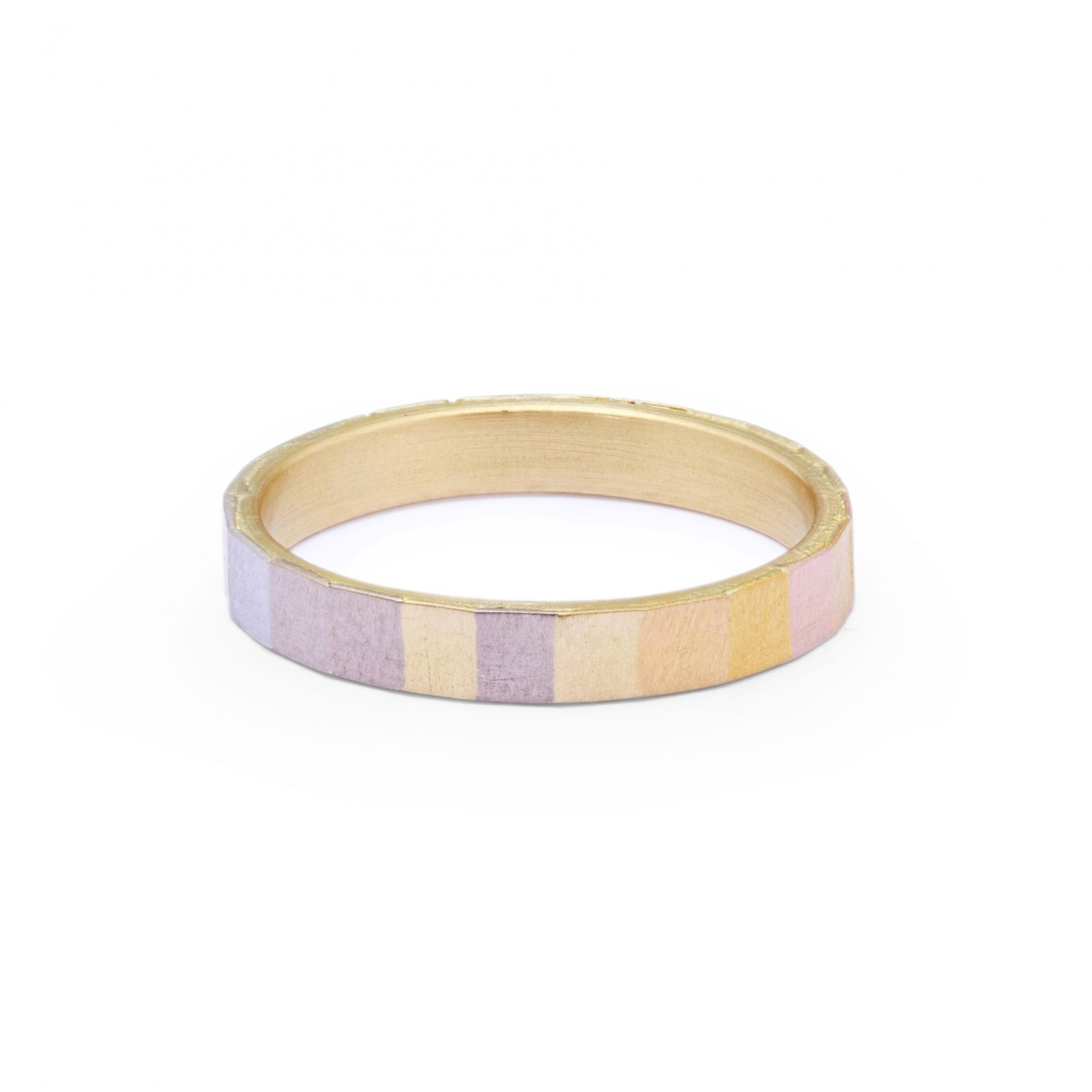 Sia Taylor KR15 RAIN Rainbow Gold Wide Faceted Band WB