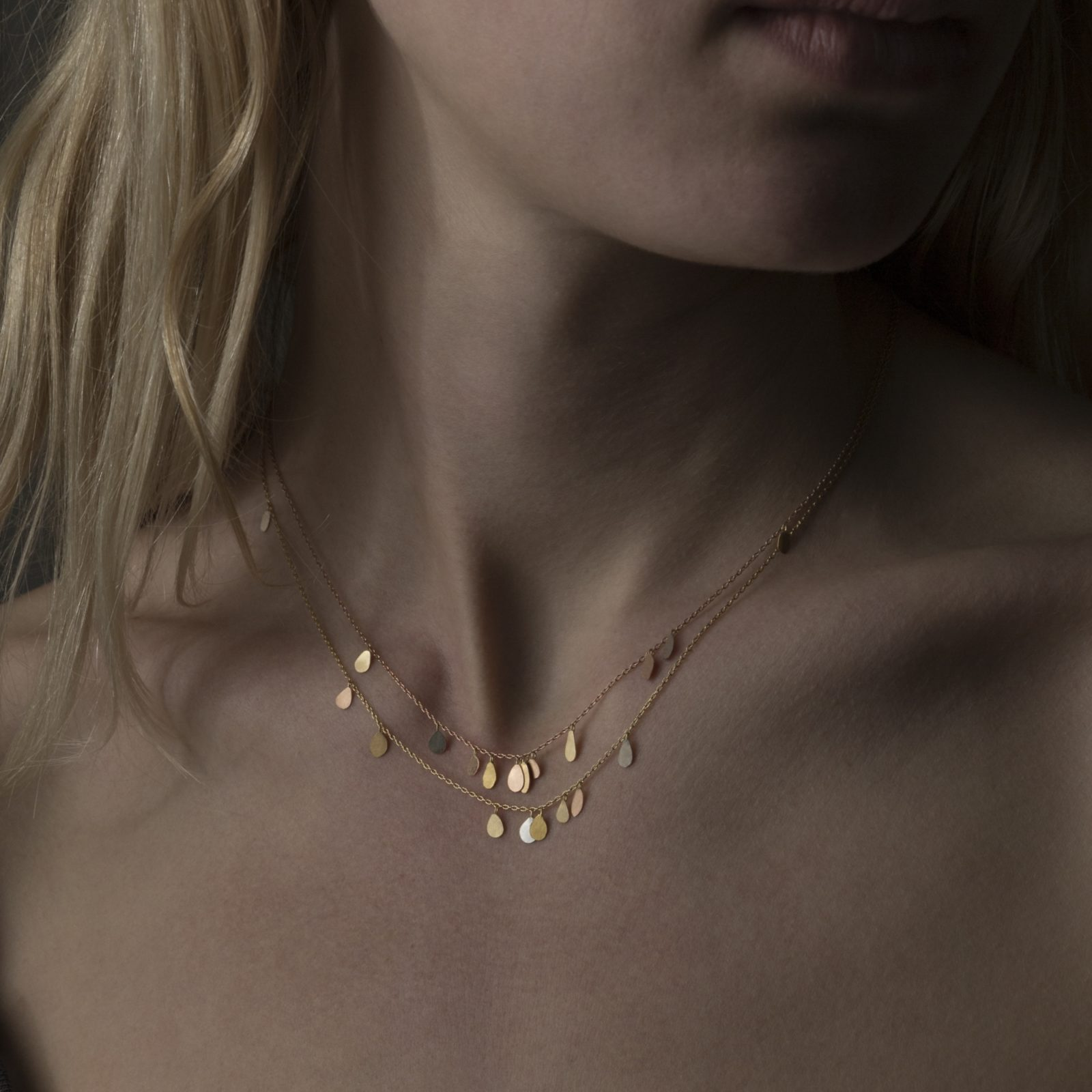 Sia Taylor TN3 Y Double Chain Raindrops Gold Necklace M